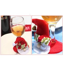 wine glasses for christmas Australia - Christmas Santa Claus Snowman Wine Glass Goblet Coaster Table Placemat Cup Mats Pad Christmas Decoration For Home Party Supplies