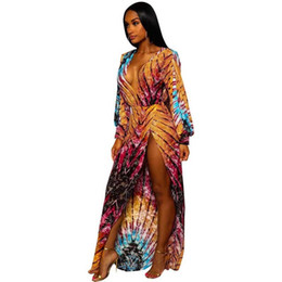 5689bbd43b Sexy Women Long Dress Vintage Bohemian Print Deep V Neck African Print  Dashiki Dress Long Sleeve Split Slim Maxi Dress Yellow