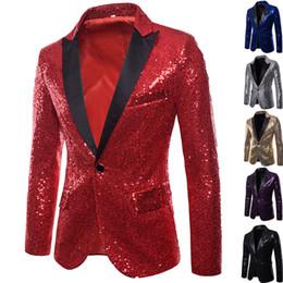 $enCountryForm.capitalKeyWord Australia - 2019 new Shiny Sequin Men's Night Club Trend Performances Forma Jacket Men Stage Suit Male Gold Wedding Tuxedos Blazer