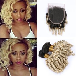 wholesale funmi human hair Canada - #1B 613 Ombre Blonde Funmi Curly Hair Bundles with Lace Closure Black and Blonde Bouncy Romance Curls Human Hair Weave with Lace Closure