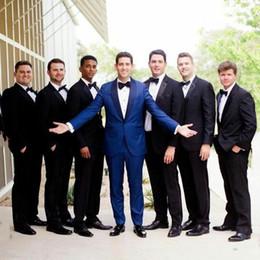 Royal Blue Yellow Suits Australia - Royal Blue Shawl Lapel Men Suits Wedding Suits Bridegroom Custom Groom Wear Tuxedo Blazer 2Piece Coat Pants Slim Fit Formal Best Man Costume