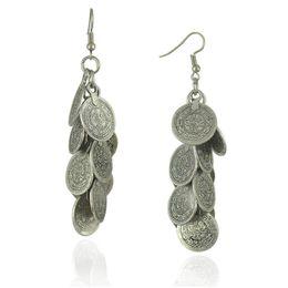 $enCountryForm.capitalKeyWord NZ - silver art bars for sale Bohemian Gypsy Zamac Vintage Tibetan Silver Cluster Coin Statement Dangle Earrings For Women
