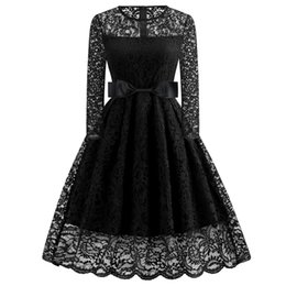 fashion short gown dresses UK - IN Stock Black Lace Long Sleeve Short Evening Dresses Wear Party Cocktail Dresses Cheap Prom Gowns Vestidos De Fiesta 2019