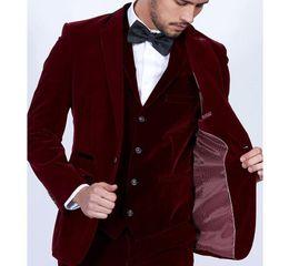 $enCountryForm.capitalKeyWord Australia - Custom Made Groom Tuxedos Burgundy Velvet Men Suits Slim Fit 3 Piece Blazer Tailor Made Wine Red Groom Prom Party Tuxedo(Jacket Pants Vest)