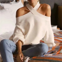 Wholesale cold jumper resale online - Luzuzi Sexy halter cold shoulder knitted sweater women Spring casual pullover jumpers sweater Elegant pull femmel sweaters