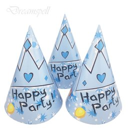 Wholesale 6pc Blue Prince crown Cartoon hats birthday paper hats kids party caps Blue Prince crown Theme happy birthday party supplies