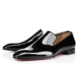 Mens Leather Bottom Dress Shoes UK - 2019 New Brand Red Bottom Loafers Luxury Party Wedding Shoes Designer BLACK PATENT LEATHER Suede Dress Shoes For Mens Slip On Flats n101