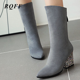 shoes for plus sized women Australia - Black Autumn Mid-Calf Boots Women Plus Size Boot Fashion Sequined High Square Heels Shoes Woman for Wine Red Gray Solid Flock 10