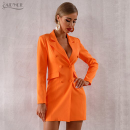 Wholesale orange trench resale online - Adyce New Summer Women Slim Trench Coats Orange Deep V Neck Double Breasted Coat Long Sleeve Solid Female Fashion Club Coat LY191210