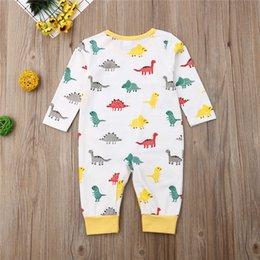 Orange baby rOmper online shopping - 2019 Newest Cute Newborn Baby Boy Girl Cotton Romper Baby Boy Girl Long Sleeve Dinosaur Printed Romper Long Jumpsuit Bebes Oufit