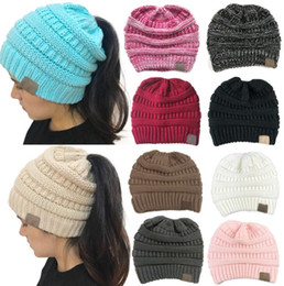 Fashion Beanies NZ - 10 Colors Sports Beanies Warm Wool Women Cave Knit Hats Empty Top Cap Fashion Patchwork Winter Skull Caps Mix Order