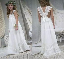b4e1b0c6185 2019 New Arrival Boho Flower Girl Dresses For Weddings Cheap V Neck Chiffon  Lace Child Communion Formal Beach Wedding Dress Custom Made