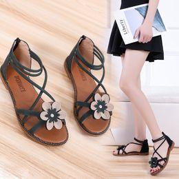 SandalS flower covering toe online shopping - Overseas2019 Baida Xia Flower Women s Flat Bottom Toe Leisure Time Crossing Bandage Woman Sandals