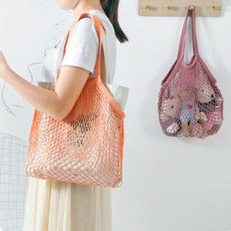 reusable woven shopping bags NZ - New Mesh Shopping Bag Reusable String Fruit Storage Handbag Totes Women Shopping Mesh Net Woven Bag Shop Grocery Tote