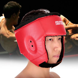 Head Protection Gear Australia - PU Boxing Helmet Closed Type Boxing Head Guard Sparring MMA Muay Thai Brace Head Protection Sanda Taekwondo Protection Gear