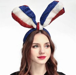 Headbands Bow Australia - Blue, White and Red US Flag Long Rabbit Ear big bow bowknot Bright Silk Cloth Headband Hair hoop for Independence Day Headbands 4754