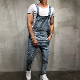 Overalls For Mens Australia - Fashion- Puimentiua 2019 Fashion Mens Ripped Jeans Jumpsuits Street Distressed Hole Denim Bib Overalls For Man Suspender Pants Size M-XXL