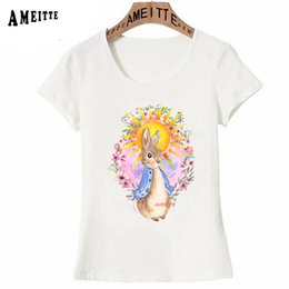 Tops Girl Shirt Design Australia - New Summer Fashion Women T-Shirt Colorful Bunny Print T-Shirt Lovely Rabbit Lovers Design Girl Casual Tops Ameitte White Tees