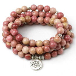 Om Plastic Australia - Natural Rhodochrosite Stone Beaded Buddha Om Mantra Lotus Bracelet Men Jewelry Wing Charm Bracelets Yoga For Women Y19051002
