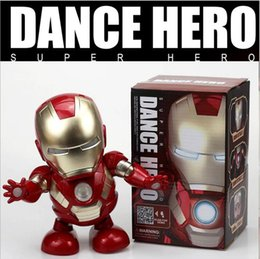 sound charger Australia - Dance Iron Man Action Figure Toy robot LED Flashlight with Sound Avengers Iron Man Hero Electronic Toy kids toys 82930