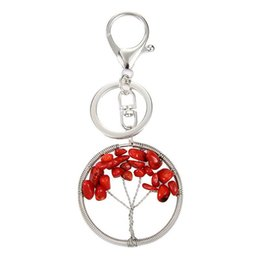 natural solar UK - Free DHL 6 Colors Natural Crystal Stone Tree of Life Pendant Keychains Handmade Keyring Car Key Holder for Women Fashion Accessories