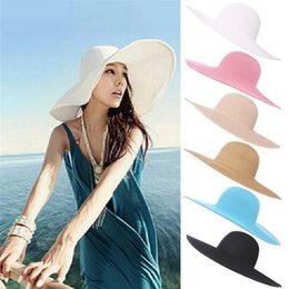 Large brim femaLe hats online shopping - Seaside Sun Visor Hat Female Summer Sun Hats For Women large Brimmed Straw Sun Hat Folding Beach GirlsMMA1485