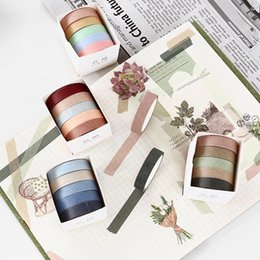 Decorative Paper Rolls Australia - 5 Rolls  set 10mm*5m Solid Color Paper Tape Decorative Masking Tapes For Decor Diary Notebook School Office Supply 2016