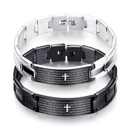 christian wholesalers Canada - Men's Stainless Steel Cross Bracelets Trendy Jesus Christian Couple Bangle For Women Wedding Jewelry Gift Drop Shipping