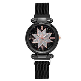 Petal watch online shopping - Fashion Watch Simple Starry Dial Stainless Steel Mesh Belt Ladies Quartz Watch Gift petal Round solid colorwoman