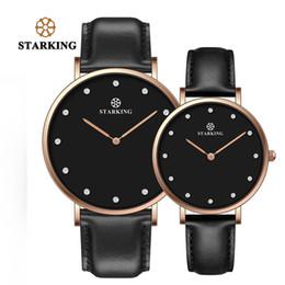 valentine men watches 2019 - STARKING Couple Lover Watch Quartz Genuine leather 30M Waterproof Black Simple Watch Men And Women Valentine Day Gifts H