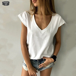 Sexy tee ShirtS for women online shopping - 2019 Solid Short Solid T Shirt Deep V Neck Short Sleeve Sexy Basic Black White Tees Tops For Tshirt Women