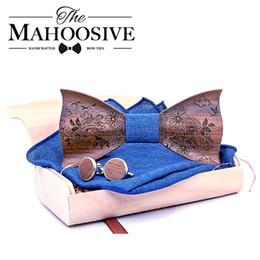 $enCountryForm.capitalKeyWord Australia - 3d Engraving Wooden Bow Ties For Men Ties Wood Bowtie Handmade Butterfly Wood Bow Tie Gravata Gift Cufflink Handkerchief Set Box MX190817