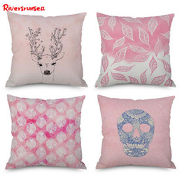 chairs skull Australia - Nordic Style Pink Deeet Cushion Simple Leaf Flower Pineapple Skull Pattern Geometric Marble Pillow For Office Chair Backrest