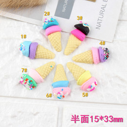 $enCountryForm.capitalKeyWord Australia - Mix 100pcs 15*33mm DIY Soft ceramics polymer resin clay ice cream cone charms cabochon jewelry making ornament decorative material