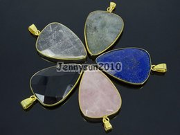 gem pack UK - Natural Gems Stone Reiki Chakra Spear Pointed Healing Pendant Charm Beads Gold Healing Great Jewelry Design 10Pcs Pack