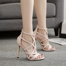 Cross Bandage High Heel Australia - Sunshine2019 Winter Year Real Woman Sandals High-heeled Apricot Crossing Bandage Ventilation Toe Women's Shoes