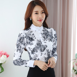e86a87aa4f567e Discount korean linen blouse shirts - 2019 spring New fashion elegant  Korean Chiffon Shirt Long Sleeved