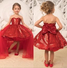 Girls paGeant dresses flower train online shopping - 2019 Sparkle Sequins Red Princess Girls Pageant Dresses Tulle Applique Bow Flower Girls Party Birthday Gowns With Detachable Skirt BC2163