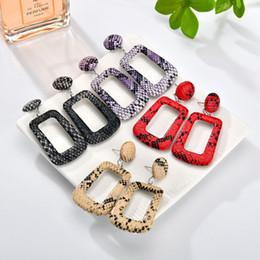Leather Rhinestone Earrings Wholesale Australia - New Snake Skin Statement Dangle Earrings For women Oversize Large Big Long Geometric Leather Drop Earring Fashion Jewelry in Bulk