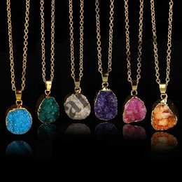 Druzy necklaces online shopping - Quartz Crystal gold plated blue agate sliced Irregular Natural stone necklace amp pendants chain necklace Druzy Jewelry