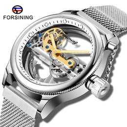 mens mesh band watches Australia - Fashion FORSINING Openwork Silver Mesh Stainless Steel Band Mens Automatic Skeleton Watch Luminous Design Male Wristwatch