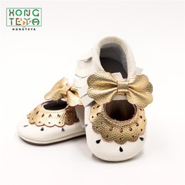 Moccasins For Toddlers Australia - New Mary Jane Baby Moccasins Princess Bow Party Shoes For Baby Toddler Girl Shoes First Walker Rubber Sole Non-slip Dress