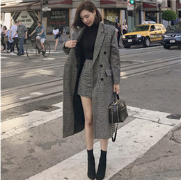 Wholesale long knee woman winter coats resale online - Women S Clothing Piece Set Autumn and Winter New Fashion Houndstooth Long Woolen Coat Bodycon Sheath Dress Women Skirt Set