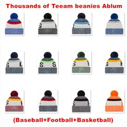Wholesale New Arrivel Team Beanies Baseball Snapback Caps Sport Knitted Hats for Men and Women Winter Warm Beanies Top Quality