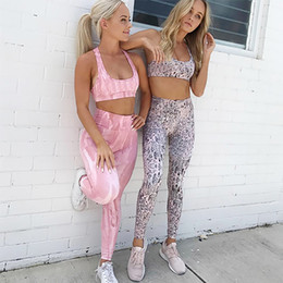 fitness leggings pink NZ - 2 Piece Set Women Sports Bra and Leggings Set Workout Clothing Sports Wear for Women Fitness High Stretchy Athletic Yoga