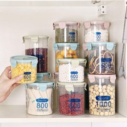 kitchen jars canisters UK - Kitchen Food Container Seal Pot Tea Coffee Candy Storage Tank Plastic Cereals Snacks Box Cookie Canister Jars For Spices