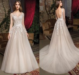 $enCountryForm.capitalKeyWord Australia - Sexy Illusion Boidce Lace Wedding Dresses with Sheer Long Sleeves Sweep Train Applique Custom Made Backless Beach A line Bridal Gowns