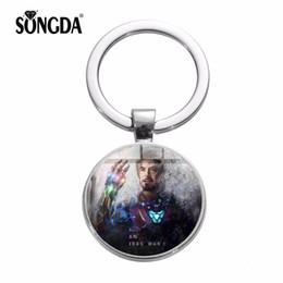 $enCountryForm.capitalKeyWord UK - SONGDA Iron Man Tony Stark Keychain Infinity War Movie Superhero Arc Reactor Key Ring Series Fashion Glass Key Holder