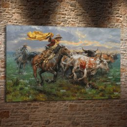 oil art nude man UK - Horses Cowboy Men , Canvas Pieces Home Decor HD Printed Modern Art Painting on Canvas (Unframed Framed)