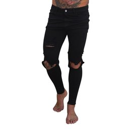Wholesale Ripped Jeans UK - Plus Size Jeans Men Casual Men's Fashion Ripped Jeans For Men Denim Hole Pants Ankle Length Pencil Trousers homme